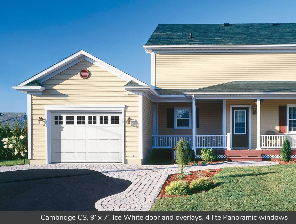 Cambridge CS, 9' x 7', Ice White door and overlays, 4 lite Panoramic windows